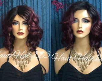Burgundy Multitone Bob Human Hair Blend Lace Part Wig