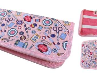 Pink Sewing Accessories Design Crochet Hook Case