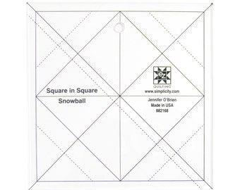 "Square in a Square Snowball 5.5"" x 5.5"" Acrylic Template"