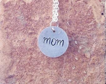 Cursive Mom Handstamped Necklace - Mother's Day gift - Mom Necklace - Mom jewelry - Jewelry for Mom -Handstamped Jewelry - Gifts for Mom