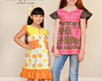ModKid - Frida - Paper Sewing Pattern for Girl's Tunic Style top or Dress