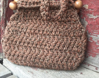 Handmade crocheted bag with floral calico lining