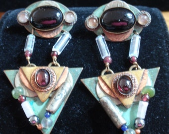 Vintage Art Deco Copper and Stone Earrings