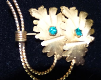 Gold Leaf Brooch with Aqua Stones