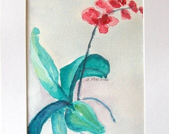 First Flower watercolor painting by Miao Yeh, 14x11, floral, portion of proceed supports Parkinson's research.