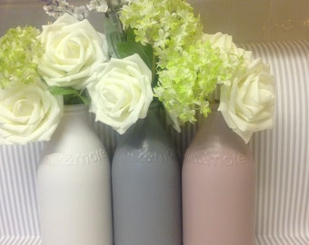 Shabby chic Trio of glass bottles jars mason like