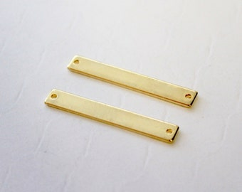 Gold Bar Pendant 2 pcs / Bar Connector Stamping Blanks / Gold Bar Jewelry Supplies / Jewelry Making / Gold Bar Charm / USA SELLER