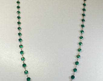 "Raindrops Necklace - Emerald/Rhodium 36"" Swarovski crystal"