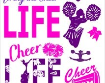 SVG Cut File Cheer Life for Tshirt Tote Silhouette Studio 3 Cheerleading
