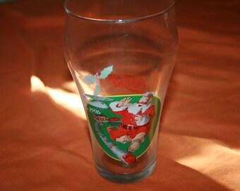 Vintage Coca-Cola Santa Claus Christmas drinking glass 1996