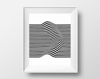 Distorted Stripes Print, Stripes Wall Art, Black and White Stripes, Minimal Home Digital Art, Printable Design,Optical Illusion Print