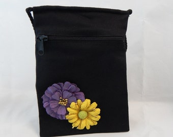 Lovely Purple & Yellow Embellished Flower Hand Bag