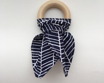 Dark Blue Herringbone Wood Teething Ring | Wood Teether | Baby Teether