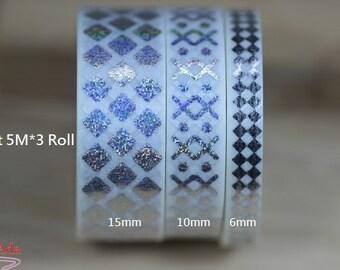T33002-15+10+6mm Washi Tape, laser Silver Set 5M*3 Roll.Imitation Japanese Paper.