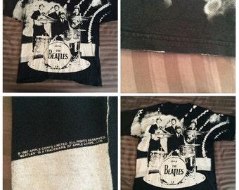 XL 1997 The Beatles vintage men's T shirt black white all over print Ringo John Lennon 90's 1990's