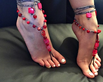 "Barefoot sandals ""the red vocation"""