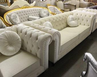 White Contemporary Velvet Chesterfield 3 Piece Tufted Living Room Sofa Set