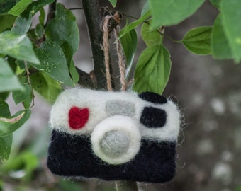 Felted Eco Wool Camera Ornament - Made To Order!