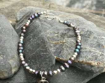 Beautiful grey Freshwater pearl and sterling silver charm bracelet