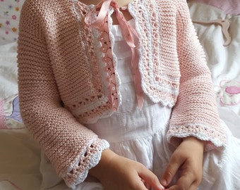 Knit and crochet bolero in pink and white cotton yarn