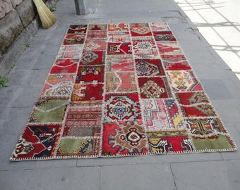 Turkish Vintage wool rug,patch-work rug,94 x 64 inches