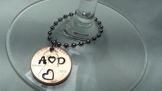 , custom wedding wine glass charms, personalized wine glass charm ...