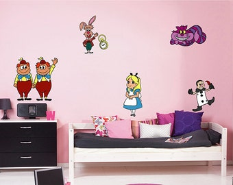 Alice In Wonderland Wall Decal alice wall decals Cheshire Cat wall decals White Rabbit decals  Disney Wall Decal kcik1540