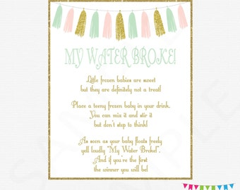 Pink Mint Gold Baby Shower Games, My Water Broke Baby Shower Game, Frozen  Baby