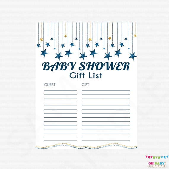 Baby Gift List Ireland : Twinkle dark blue and gold baby shower gift list printable
