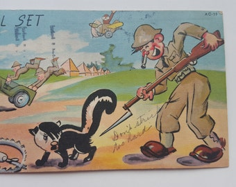 "Vintage 1940""s WWII Art Tone Comics Series Army Postcard"