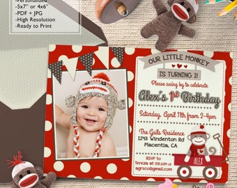 Red Wagon Sock Monkey Birthday Party Photo invitations Red Sock Monkey DIY printable Birthday invite