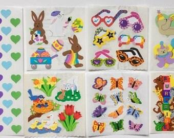 Vintage Sandylion Sticker Lot.  Butterflies, Bunny Rabbits, Bears, Hearts, Glasses