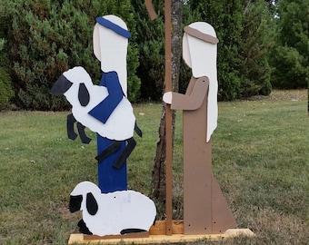 Outdoor Wooden Christmas Nativity | Shepherd Nativity Set | Christmas outdoor decorations