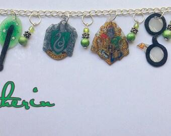 Hand Drawn Slytherin Charm Bracelet