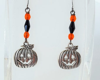 Halloween Pewter Pumpkin Charm Earrings