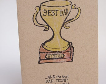 Greeting Card- Best Dad Trophy