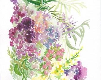 A4 floral watercolour original art print REQUEST PERSONALISED BOUQUET