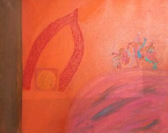European abstract surrealist oil painting