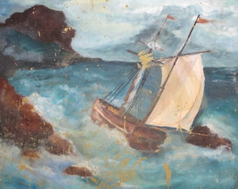 Ship Seascape oil painting signed