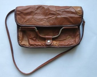 Vintage Brown Leather Handbag, Convertible Bag, Brown Leather Shoulder Bag