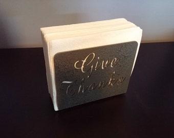 "Gray ""Give Thanks"" napkin holder"