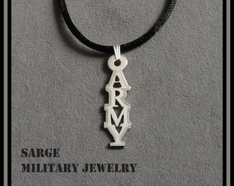ARMY Pendant, Sterling Silver Army Necklace, United States Army Jewelry, Silver Army Pendant Made in USA by a Veteran,Sterling Army Pendant