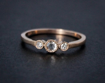 Rose Gold Diamond Ring - Rose Cut Diamond - Non-Traditional Engagement Rings
