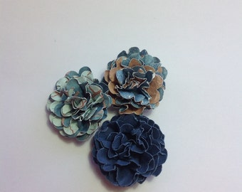 3 Paper Flower Embellishments - scrapbooking - cards tags - project life - paper craft