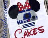 Star Wars Shirt R2-D2 bow mickey minnie Racerback Tank top Disney Girl Baby Toddler Ladies The Force Awakens
