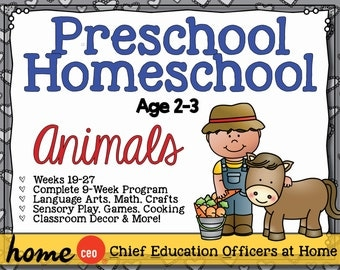 Homeschool Preschool Animals Units (9 Weeks)