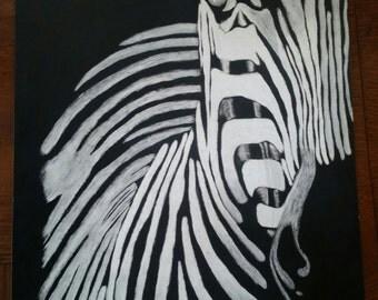 Scratchboard zebra