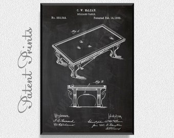 Billiard Table 1882 Patent Print, Billiard Prints, Billiard Posters, Billiard Blueprints, Billiard Art, Billiard Wall Art