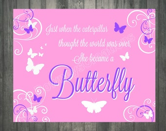 Pink & Purple BUTTERFLY Wall Print/Girls room/Wall Decor/Girl/Table Decor/INSTANT-DOWNLOAD/ 8x10 Sign/