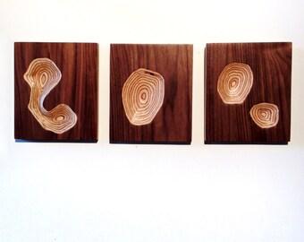 Wall sculpture - wooden triptych